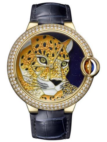 卡地亚BALLON BLEU DE CARTIER珐琅珠粒工艺猎豹装饰腕表