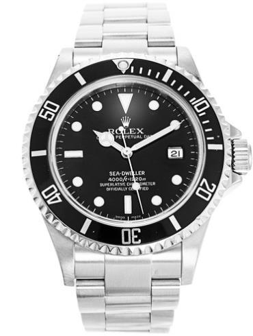 劳力士海使型4000精钢黑面男表16600不锈钢表扣