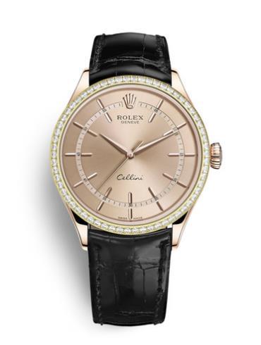 劳力士切利尼时间型39玫瑰金钻圈粉面男表50705RBR-0010