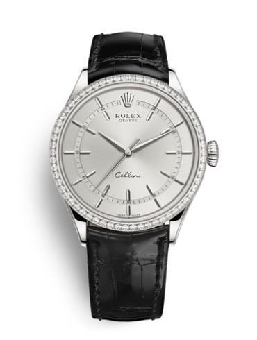 劳力士切利尼时间型39白金钻圈银面男表50709RBR-0010银色表盘