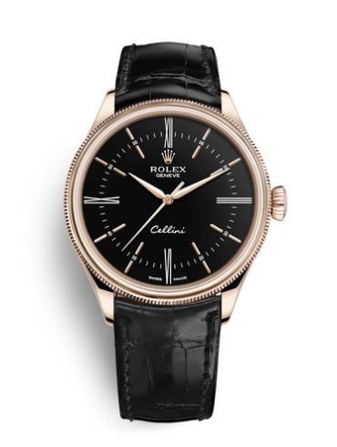 劳力士切利尼时间型39玫瑰金黑面男表50505-0009黑色表带