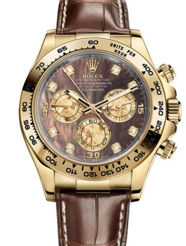 劳力士宇宙计型迪通拿40黄金黑贝母面钻标皮带男表116518-0073