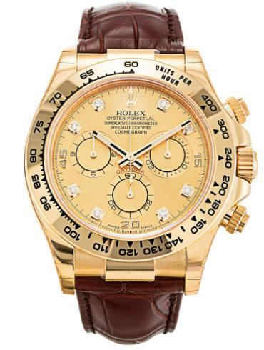 劳力士宇宙计型迪通拿40黄金香槟面钻标皮带男表116518-0003