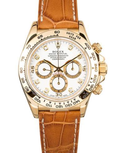 劳力士宇宙计型迪通拿40黄金白面钻标皮带男表116518-0001