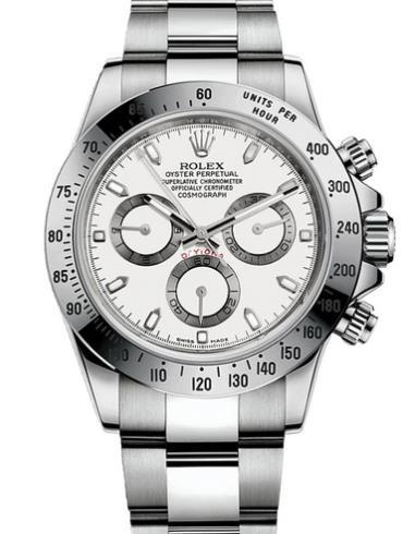 劳力士宇宙计型迪通拿40精钢白面男表116520-0016白色表壳