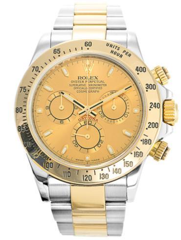 劳力士宇宙计型迪通拿40黄金钢香槟色面白条男表116523-0042表径40mm