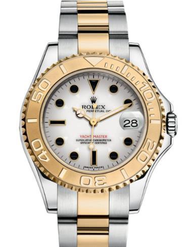 劳力士游艇名仕型35黄金钢白面宝石标男表168623-0016