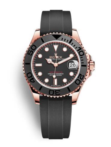 劳力士游艇名仕型37玫瑰金陶瓷圈黑面胶带男表268655-0002