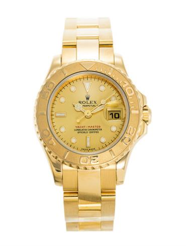 劳力士游艇名仕型29黄金香槟色面女表169628-0001金色表盘