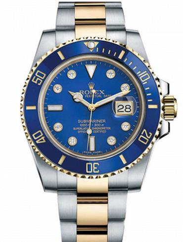 劳力士潜航者型40黄金钢蓝色陶瓷圈蓝面钻标男表116613LB-0003