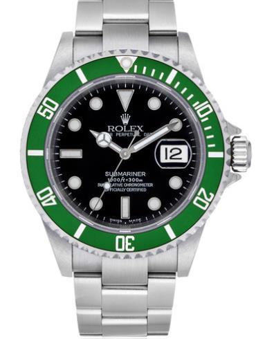 劳力士潜航者型40精钢绿圈黑面男表16610LV-93250