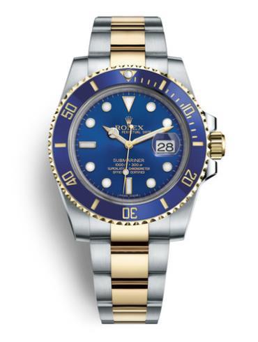 劳力士潜航者型40黄金钢蓝色陶瓷圈蓝面男表116613LB-0005表径40mm