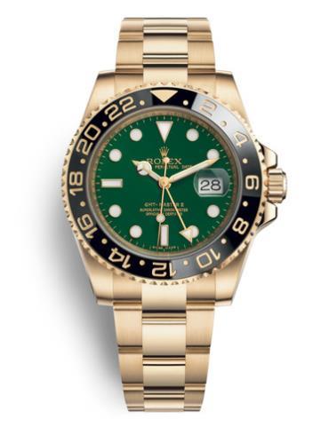 劳力士格林尼治型II40黄金黑陶瓷圈绿面男表116718LN-0002表径40mm