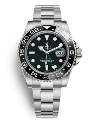 劳力士格林尼治型II40精钢黑陶瓷圈黑面男表116710LN-0001精钢表扣