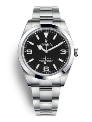 劳力士探险家型39精钢黑面男表214270-0003精钢表扣