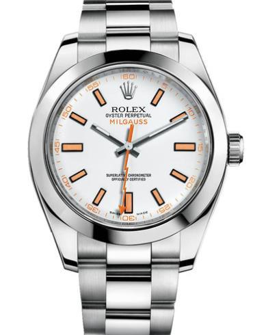 劳力士MILGAUSS40精钢白面橙条男表116400-0002精钢表扣