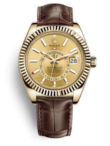 劳力士Sky-Dweller42毫米黄金男表326138-0006棕色表带