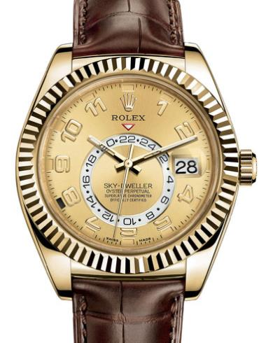 劳力士SKY-DWELLER42黄金牙圈香槟色面男表326138-0004棕色表带