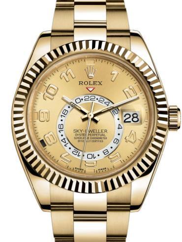 劳力士SKY-DWELLER42黄金牙圈香槟色面罗马字男表326938-0002表径42mm