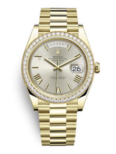 劳力士星期日历型40黄金钻圈银面男表228348RBR-0007