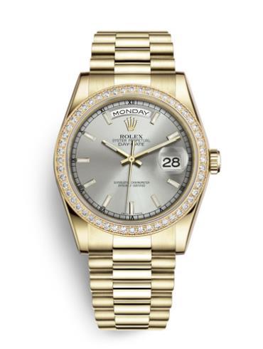 劳力士星期日历型36黄金钻圈银面男表118348-0036