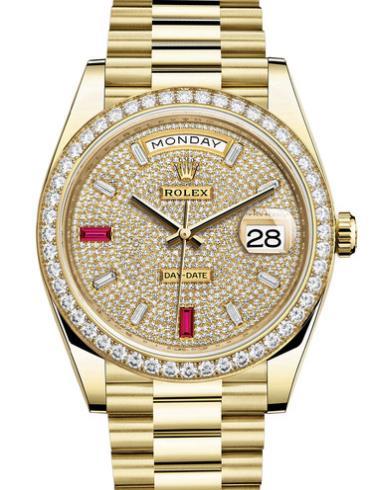 劳力士星期日历型40黄金钻圈钻面钻标男表228348RBR-0030