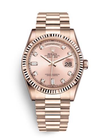劳力士星期日志型36玫瑰金牙圈粉面钻标男表118235F-0029