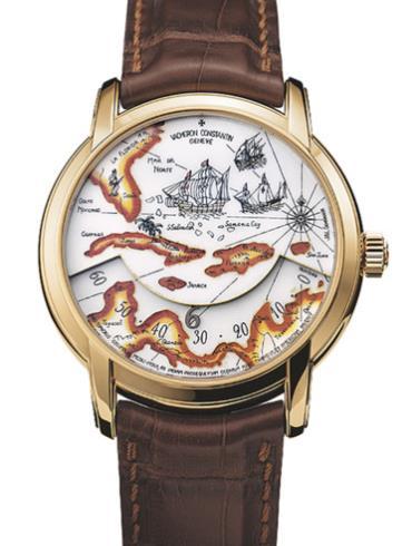 江诗丹顿艺术大师系列47070/000J-9085黄金表扣棕色表带