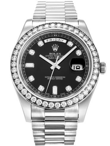劳力士星期日历型II41白金钻圈黑面钻标男表218349黑色表盘