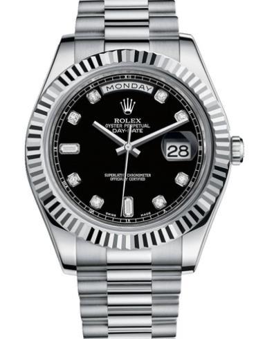劳力士星期日历型II41白金牙圈黑面钻标男表218239银色表带