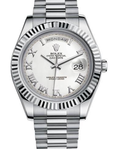 劳力士星期日历型II41白金牙圈白面罗马字男表218239-0041银色表带