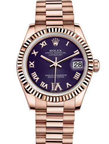 劳力士女装日志型31玫瑰金牙圈紫面罗马字女表178275F-0033