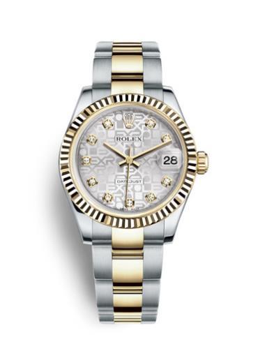 劳力士女装日志型31黄金钢银色纪念纹面钻标女表178273-0010