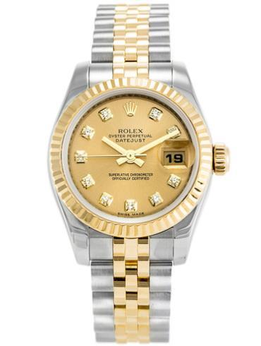 劳力士女装日志型26黄金钢牙圈香槟色面钻标女表179173CD间金色表带