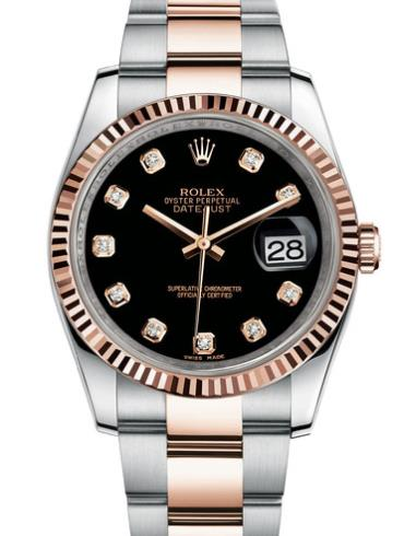 劳力士日志型36玫瑰金钢黑面钻标男表116231-0071间金色表带