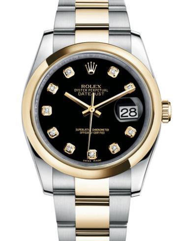 劳力士日志型36黄金钢黑面钻标男表116203-0133精钢表扣