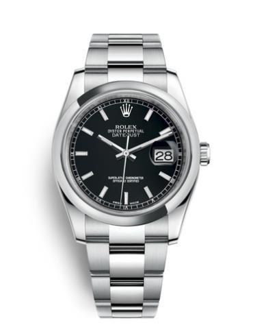 劳力士日志型36精钢黑面男表116200-0059精钢表扣