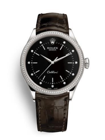 劳力士切利尼39毫米白金男表50609RBR-0010黑色,镶嵌钻石表盘