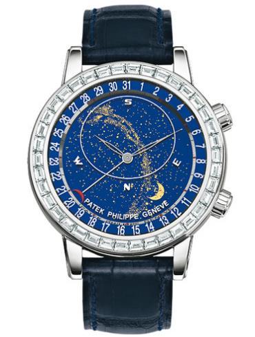 百达翡丽超级复杂功能计时系列白金镶钻星空腕表6104G-001蓝色表底盖