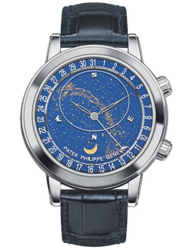 百达翡丽超级复杂功能计时系列星空(Celestial)腕表6102P-001蓝色表底盖