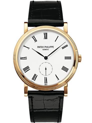 百达翡丽Calatrava系列白面黄金款腕表5119J-001黑色表带