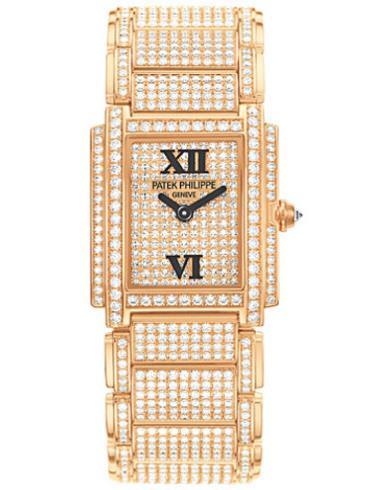 百达翡丽Twenty4系列红金全钻石英女4908/50R-012香槟色表带