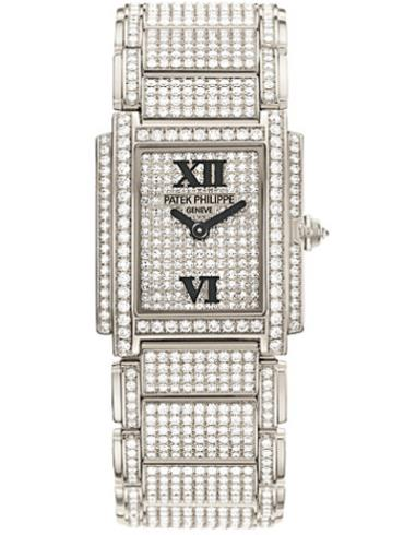 百达翡丽Twenty4系列白金全钻石英女表4908/50G-012银色表带