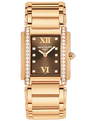 百达翡丽Twenty4系列玫瑰金镶钻石英女表4908/11R-010香槟色表底盖