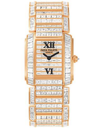百达翡丽Twenty4系列全钻红金女表4908/101R-001香槟色表底盖