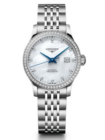 浪琴开创者系列L2.321.0.87.6日历女表白色珍珠母贝表底盖
