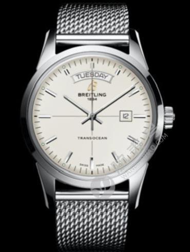 百年灵越洋双历腕表系列A4531012/G751银色表盘