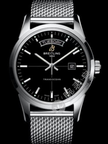 百年灵越洋双历腕表系列A4531012/BB69银色表带