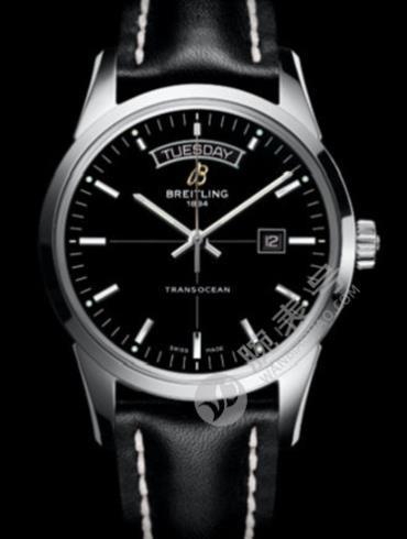 百年灵越洋双历腕表系列A4531012/BB69黑色表带