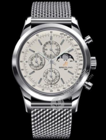 百年灵越洋1461计时腕表系列A1931012/G750海洋经典钢带银色表带